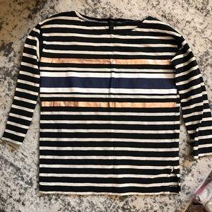 J Crew 3/4 Sleeve Striped Shirt